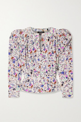 Isabel Marant Zarga Pleated Printed Silk-blend Crepe De Chine Blouse - Pink