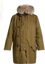 Saint Laurent Patchwork fur-lined hooded parka