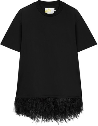 Marques Almeida Black Feather-trimmed Cotton T-shirt