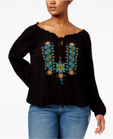 Jessica Simpson Trendy Plus Size Embroidered Peasant Top