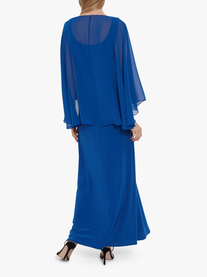 Thumbnail for your product : Gina Bacconi Piera Jersey Maxi Dress With Cape
