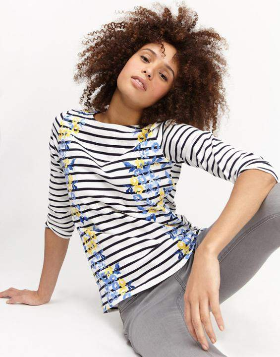 Joules Navy Rose Stripe Harbour Print Jersey Top Size 8