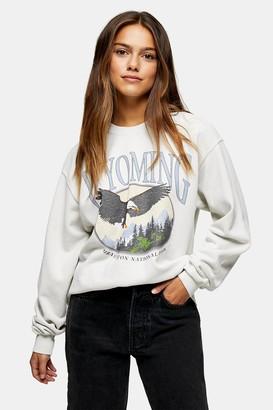 Topshop PETITE Ecru Wyoming Sweatshirt
