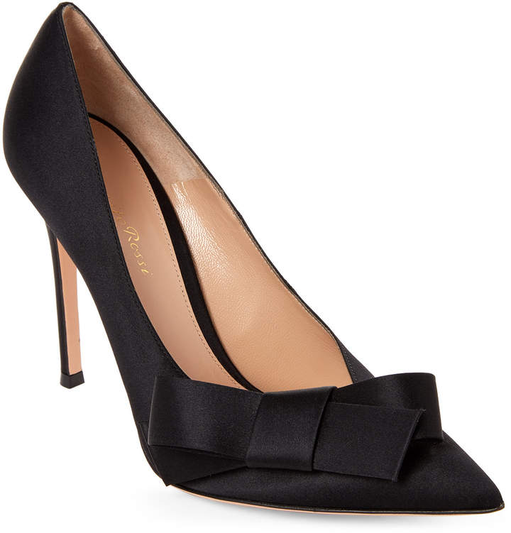 Gianvito Rossi Black Kyoto Satin Bow Pumps