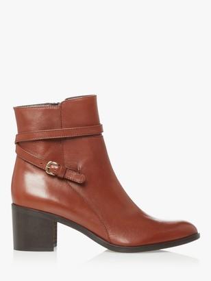 Dune Patti Block Heel Leather Ankle Boots, Dark Tan