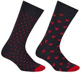 John Lewis Heart Socks, Pack Of 2, One Size, Black/red