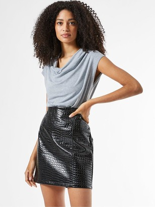 Dorothy Perkins Cowl Neck Short Sleeve Bodysuit - Grey
