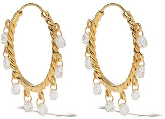 Patcharavipa 18kt yellow gold Butterfly diamond hoops