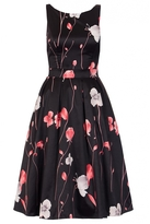 Quiz Black And Red Satin Flower Print Dress
