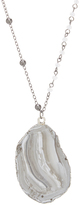 Carole Gray & Silvertone Stone Slice Pendant Necklace