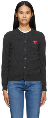 Comme des Garcons Grey Wool Layered Double Heart Cardigan