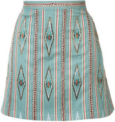 Alice + Olivia Alice+Olivia - bead embroidered mini skirt - women - Cotton/Polyester/Spandex/Elastane - 0
