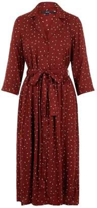 Vero Moda Burgundy Dot Pattern Midi Shirt Dress - Size M
