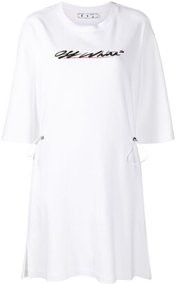 Off-White Logo Print Shirt Dress