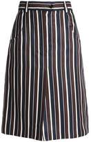 Nina Ricci Striped Wool And Silk-Blend Skirt