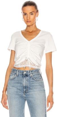 JONATHAN SIMKHAI STANDARD Cropped Ruched Front Top in White   FWRD