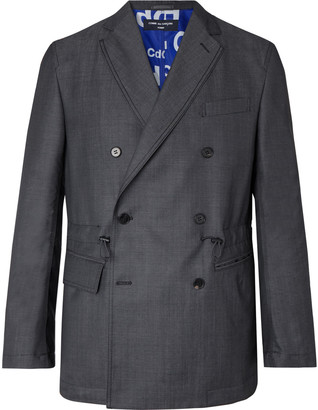 Comme Des Garçons Homme Charcoal Unstructured Double-Breasted Wool And Mohair-Blend Blazer