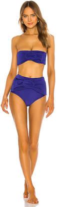 Adriana Degreas Marjorelle Blue Belted Hot Pant Bikini Set