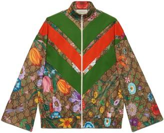 Gucci GG Flora print zip-up jacket