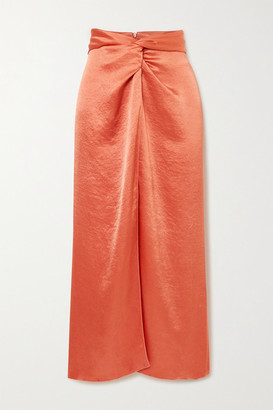 Nanushka Samara Twist-front Washed-satin Midi Skirt - Pastel orange