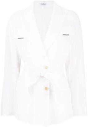 Brunello Cucinelli Sheer-Sleeved Wrap Blazer