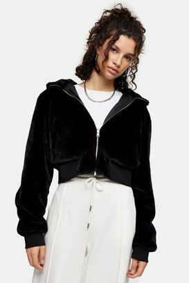 Topshop Womens Reversible Cropped Faux Fur Lined Bomber Jacket - Black