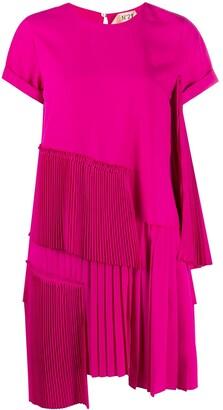 No.21 Pleat-Detailing Tiered Mini Dress