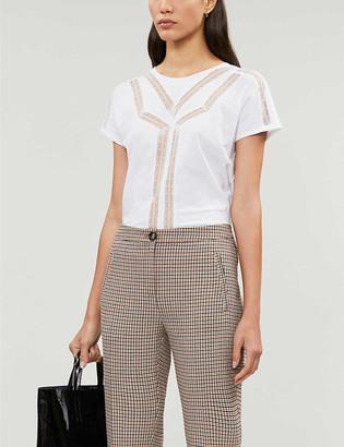 Maje Lace-trim cotton and linen-blend T-shirt