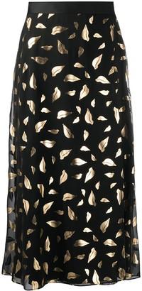 Diane von Furstenberg lip-pattern A-line skirt