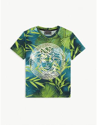 Versace Medusa logo and jungle print cotton-blend T-shirt 4-14 years