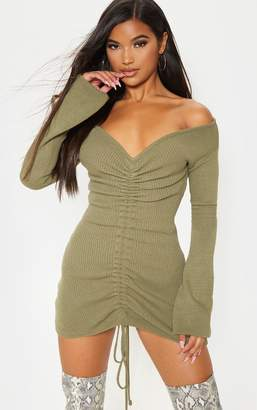 PrettyLittleThing Khaki Ruched Knit Dress