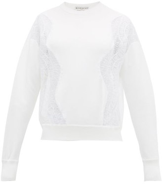 Givenchy Chantilly Lace-panelled Crepe Sweatshirt - Womens - White