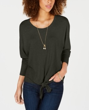 Style&Co. Style & Co Tie-Front Sweater, Created for Macy's