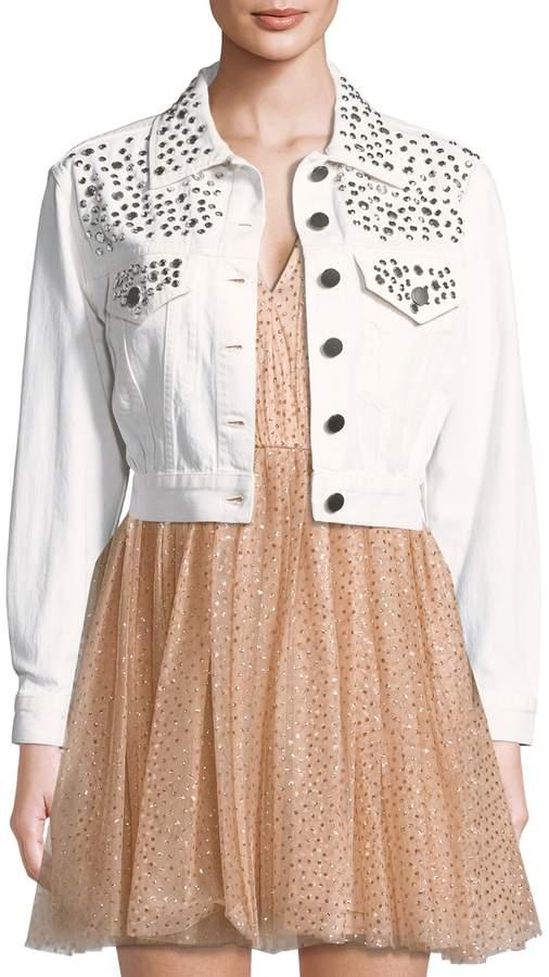 Alice + Olivia Women's Chloe Studded Cropped Cotton Jacket