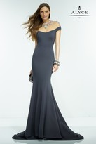 Alyce Paris Claudine - 2553 Long Dress In Charcoal Multi