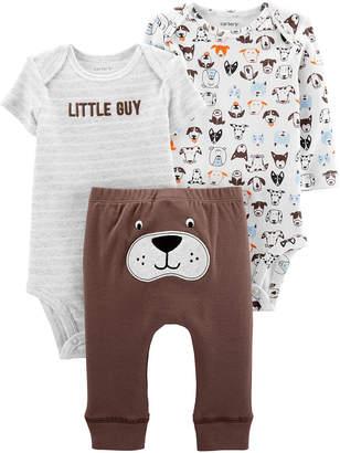 Carter's Boys' Infant Bodysuits Brown - Brown & Gray 'Little Guy' Dog Little Character Bodysuit Set - Newborn & Infant