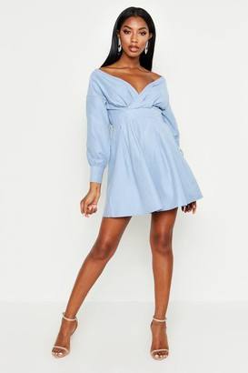 boohoo Off The Shoulder Wrap Front Skater Dress