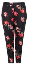 Quiz Curve Black and Red Floral Print Tapered Trousers