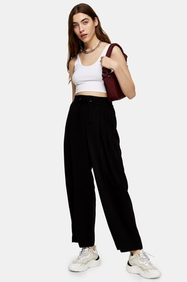 Topshop Womens Black Wide Leg Joggers With Elasticated Waistband - Black