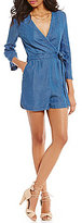 GB Chambray Bell-Sleeve V-Neck Exposed Zipper Faux-Wrap Romper
