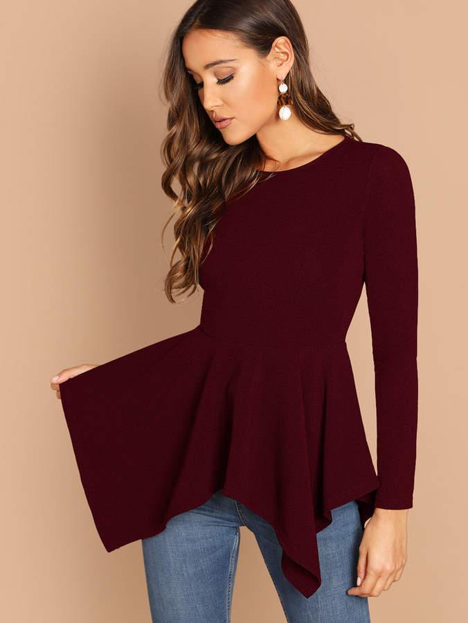 74a28b1e7908d1 Long Shirt Peplum - ShopStyle