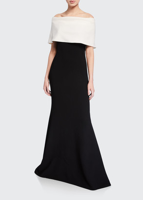 Lela Rose Off-the-Shoulder Two-Tone Gown