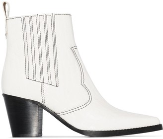 Ganni Western 60mm croc-effect ankle boots