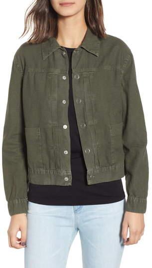 AG Jeans Eliette Linen & Cotton Crop Trucker Jacket