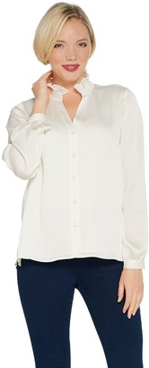 Vince Camuto Woven Ruffle-Neck Blouse