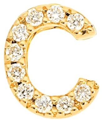 Nephora Initial Single 14K Yellow Gold Diamond Stud Earring