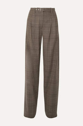 Proenza Schouler Belted Pleated Checked Wool-blend Wide-leg Pants - Brown