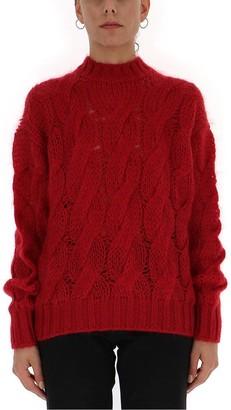 Prada Cable-Knit Crewneck Sweater