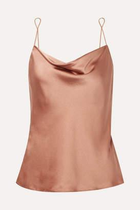 Skin - Ranya Draped Stretch-silk Satin Camisole - Bronze