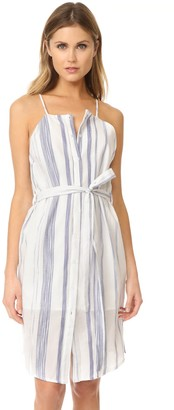 J.o.a. Women's Stripe Button Down Sheath Waistband Dress
